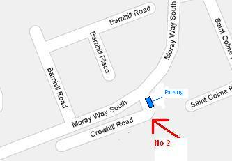Hypnotherapy in Fife close-up map:- Crowhill Road is a '1-sided' street that is set back from the main road.